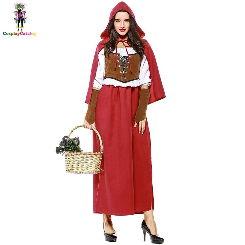 Halloween Adult Women Little Red Riding Hood Costume Plus Size XL XXL European/American Renaissance Broadway Stage Show Costumes