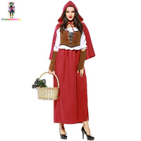 Halloween Adult Women Little Red Riding Hood Costume Plus Size XL XXL European/American Renaissance Broadway Stage Show Costumes