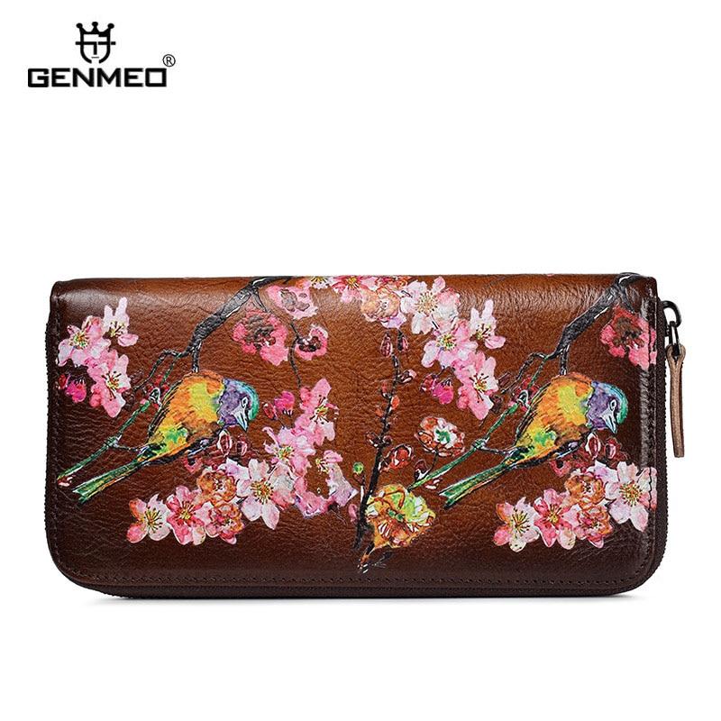 GENMEO Brand New Arrival Genuine Leather Zipper Wallet Women Coin Purse Sakura Flowers Cow Hand Strap Bolsa Feminina