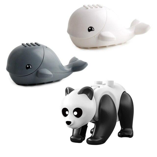 Single Sale Tiger Animal Cow Cattle Horse Shark Whale Bear Panda Building Blocks Set Model Bricks Education Toys For Children