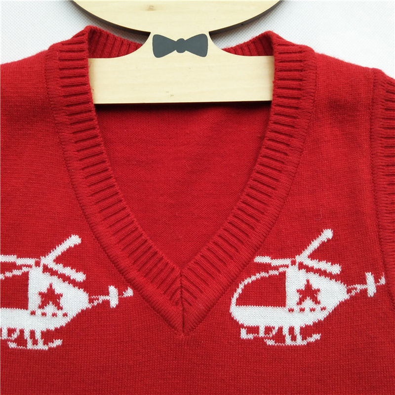 de187544f751 Autumn Winter Children Boys Wool Vest Sweater Helicopter Pattern V ...