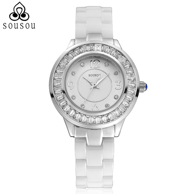 30m Waterproof High Quality SouSou Women Ceramic Watch Fashion White Female Watches Lady Quartz Wrist Watches Montre Femme Gift