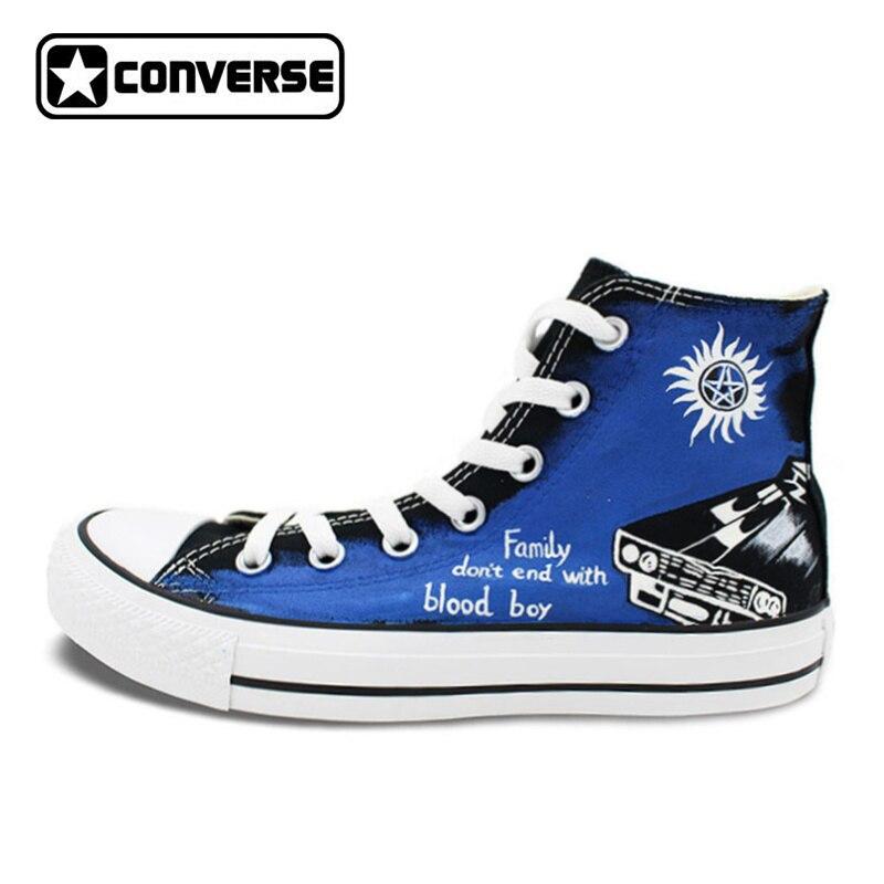 Unique Sneakers Women Men Converse All Star Supernatural Custom Design Hand Painted Canvas Skateboarding Shoes