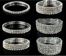 Bling Clear 1/2/3/4/5/6 Rows Women Rhinestone Silver Plated Elastic Bracelet Bangle Wedding Bridal Wristband Jewelry A001H