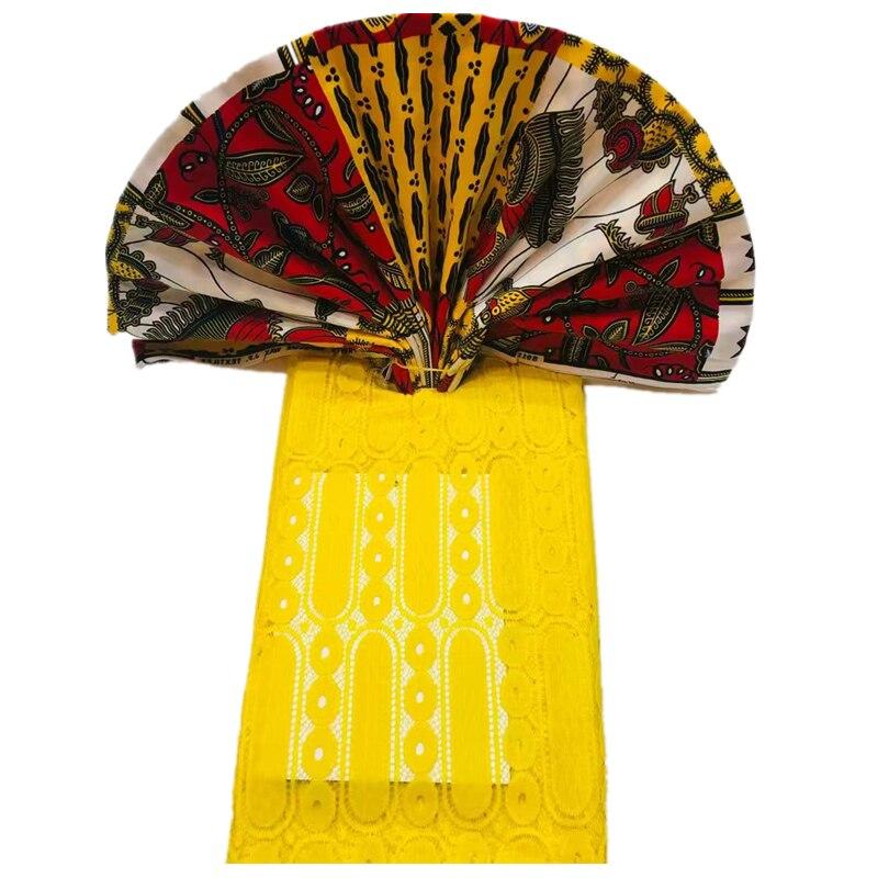 Tissu africain imprimé cire mélange jaune guipure dentelle tissu 3 + 2.5 yards ankara africain cire dentelle ensemble pour robe de soirée
