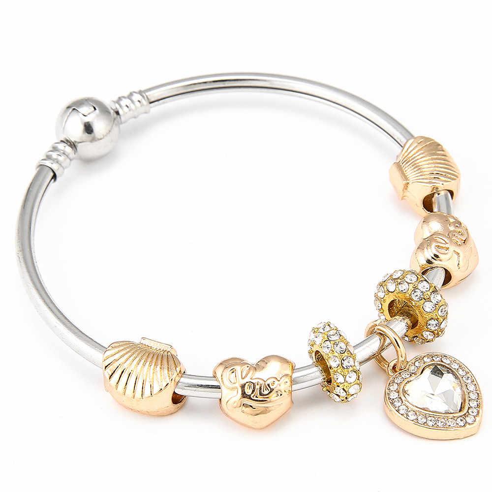 5fcd1b594 Summer Style White Crystal Love Heart Pendant Charm Bracelet Bangle Gold  Color Shell Pandora Bracelets For