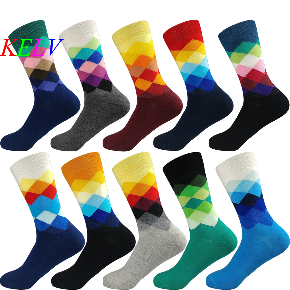 1 Pair Professional Brand Cycling Sport Socks Feet Breathable Wicking Socks Cycling Socks Small Plaid Funny Middle Tube Socks