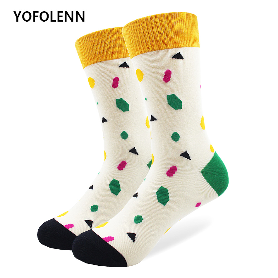 Brand Quality Mens Happy Socks Geometric Plaid Pattern White Black Socks Men Combed Cotton Long Tube Cool Novelty Wedding Socks