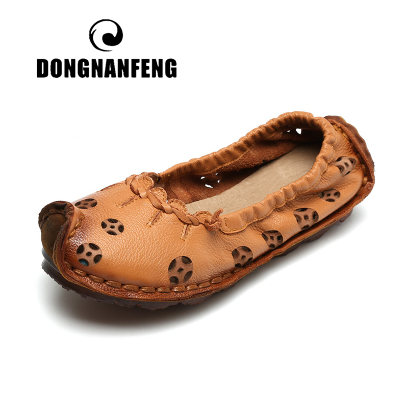 DONGNANFENG Women Flats Old Mother Shoes Cow Genuine   Leather   Loafers Hollow Slip On Pigskin Casual   Suede   Vintage Size 35-40 YD-4