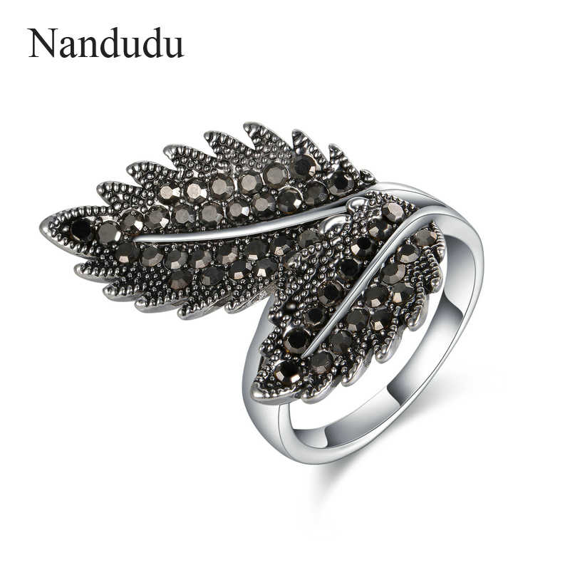 Nandudu Vintage Marcasite Leaf Style Ring Fashion Jewelry Gift Black Austrian Crystal Rings Accessories for Women Girls R1848