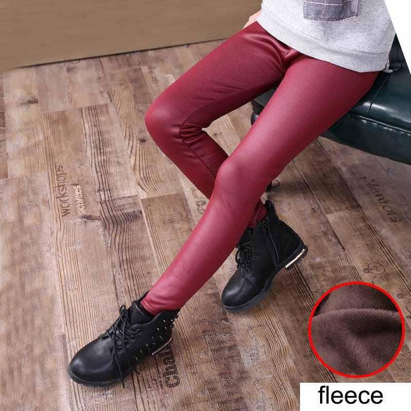 COOTELILI 90-150 cm Winter Kids Meisjes Broek Dikker Warme Fluwelen Potlood Broek PU Lederen Leggings Voor Kinderkleding zwart Rood