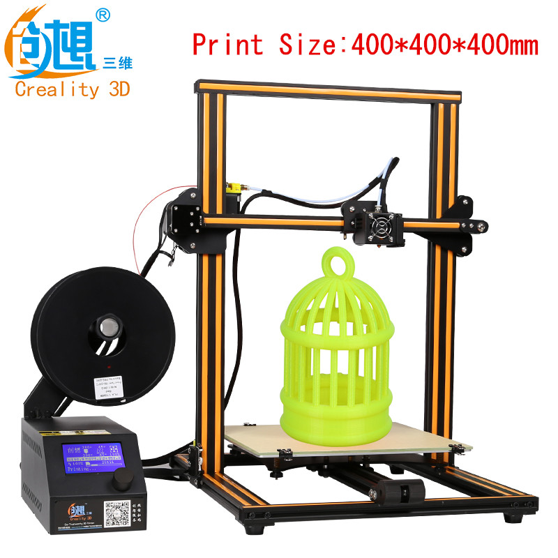 2017 New Max Size 400*400*400mm Creality CR10 3D Printer With LCD Screen High Precisio With 1.75mm 3D Filament Free Shipping 2017 hot sale 3d printer cr 9 full assembled closed noiseless 3 d printing 3d with filament 8g sd card tools creality 3d
