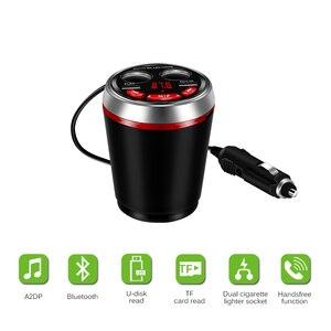 Image 5 - Dual USB Car Charger Cup Sigarettenaansteker Lading HUB 12 24V met Bluetooth Fm zender Ondersteuning U schijf Lezen