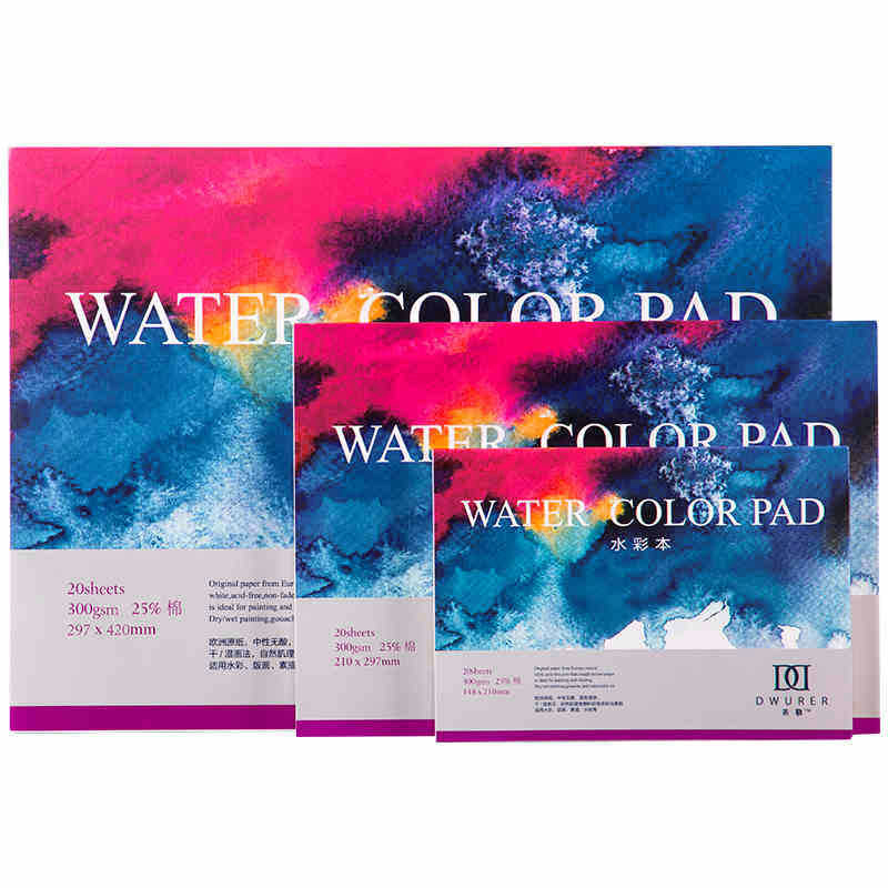 300g A3/A4/A5 Sketch Book Stationery 20Sheets Sealing Glue Watercolor Paper Notepad For Painting Drawing School Art Stationery