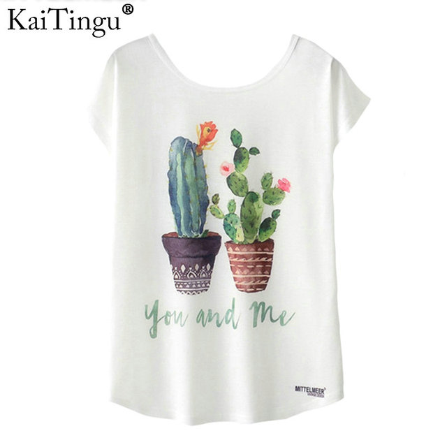 KaiTingu الصيف الجدة المرأة T قميص Harajuku Kawaii لطيف نمط نباتات الصبار تي شيرت مطبوع جديد قصيرة الأكمام قمم حجم M L XL