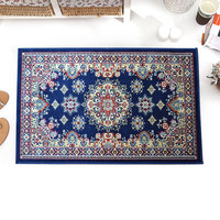 European Style Flower Door Floor Mat Breathable Anti skid Lobby Porch Rectangle Thin Mat