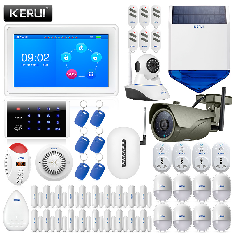 KERUI K7 7 Inch TFT Color Display WIFI GSM Security Alarm System Smart Home Solar Siren Outdoor Waterproof IP Camera Fire Alarm