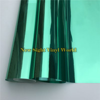 VLT 15% Green Silver Mirror Window Vinyl Film For Glass Tint Buliding Home Office Size:1.52*30m/Roll
