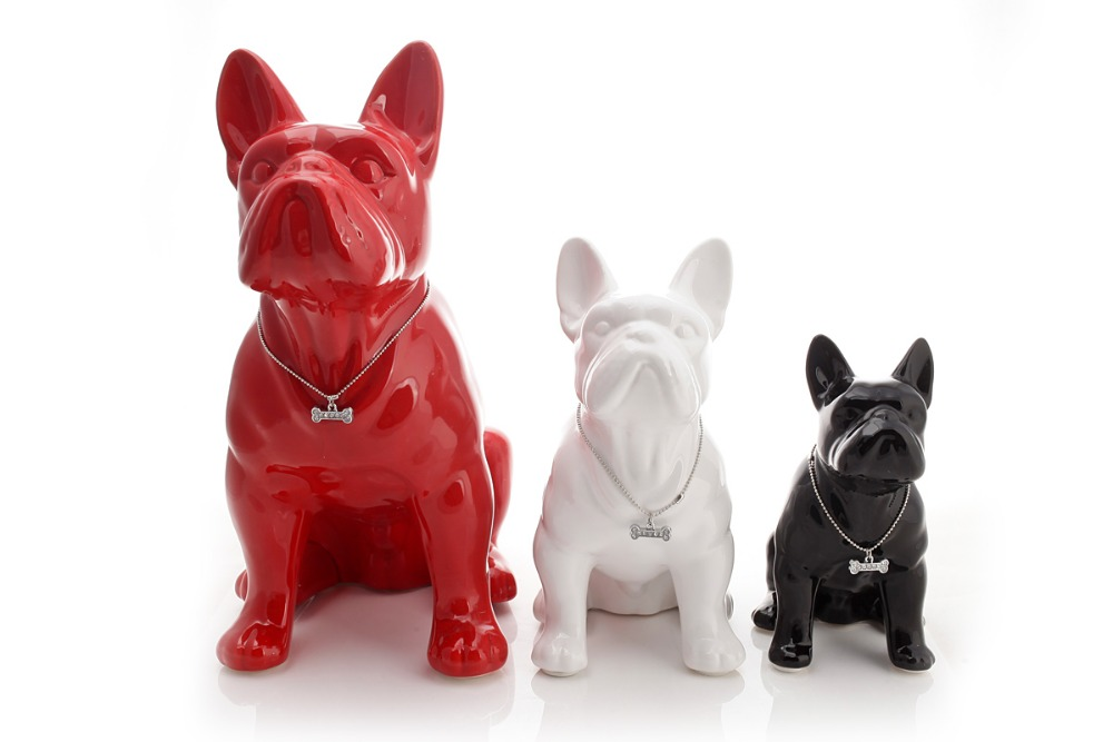 Ceramic French Bulldog Dog Statue Home Decor Crafts Room Decoration Objects  Ornament Porcelain Animal Figurine Garden Decoration In Figurines U0026  Miniatures ...