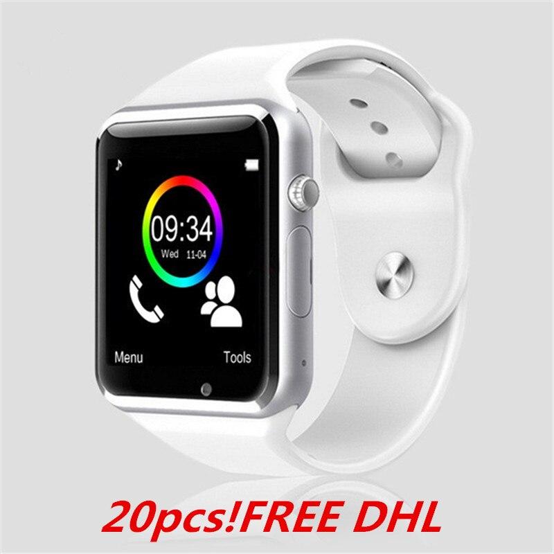 85639c2c23e 20 pcs A1 relógio de Pulso Bluetooth Relógio Inteligente Pedômetro Esporte  Com Câmera SIM Smartwatch Para Android Smartphone T15 boa como DZ09 U8