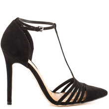 Black T-straps Ankle Strap Pointed Toe Stiletto Women Pumps High Heels Shoes Woman Pumps Made-to-order Buckle OL Shoes Women