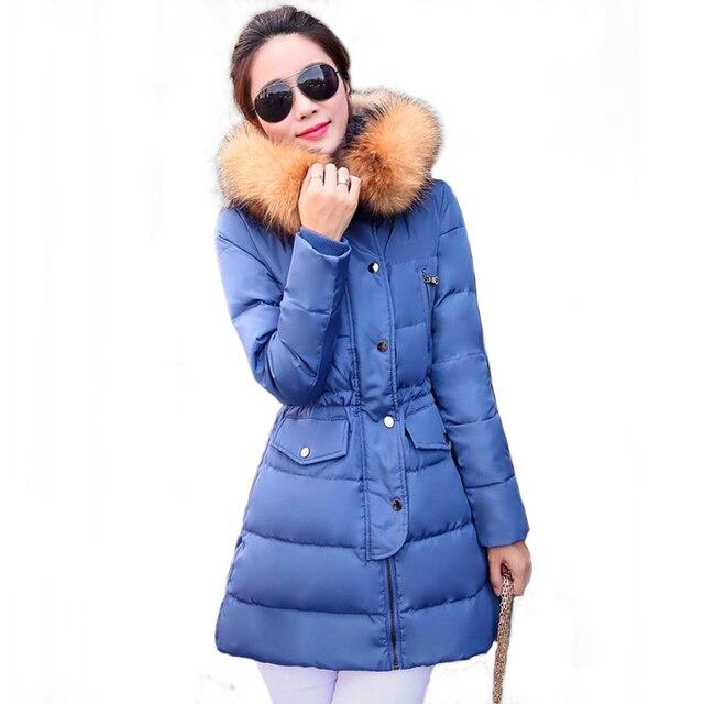 2016 pato abajo las mujeres chaqueta de invierno abrigo largo parkas Femenino engrosamiento Ropa de Abrigo con cuello de piel de Alta Calidad JX497