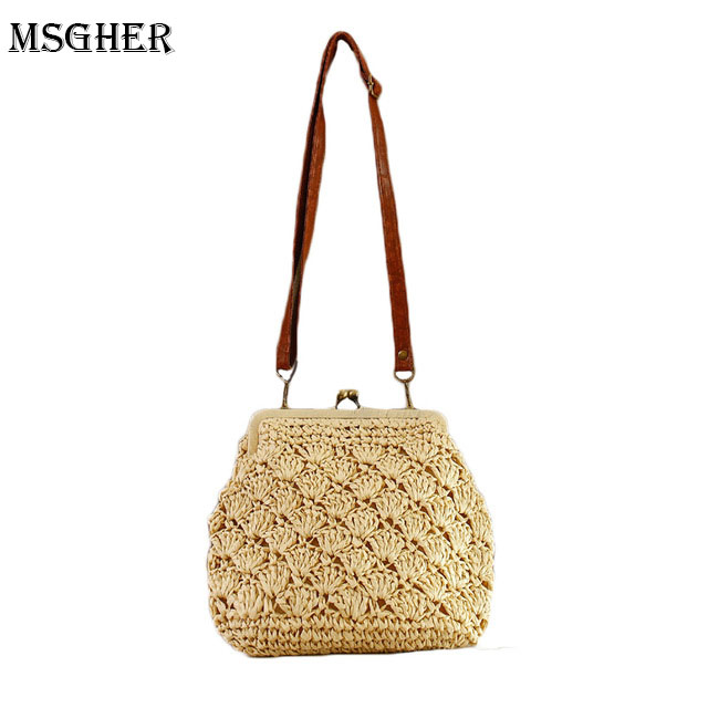 M.S Hollow Out Classic Hasp Shell Knitting Bags Summer Casual Shoulder & Handbags For Women Bohemian Vintage Solid Hot Bag SW032