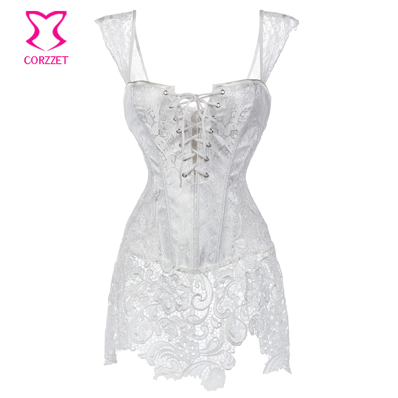 White Paisley Pattern Brocade Lace Skirted Bridal Corset Bustier