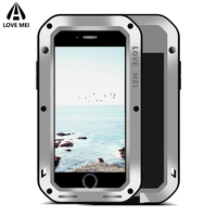 Love Mei Metal Armor Shockproof Waterproof Case For iPhone 7 8 Plus Cover Powerful Aluminum Outdoor Case For iPhone7 8 7Plus