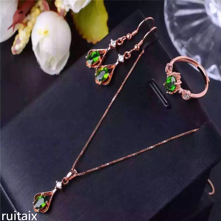 KJJEAXCMY boutique jewels 925 Pure silver inlay natural transparent stone female pendant necklace earrings ring set vintage alloy rhinestone inlay embellished necklace earrings set