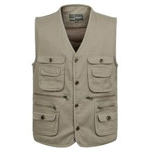 Plus Size Vest S-5XL Spring mens multi-pocket vest  photography cotton buckle with lined