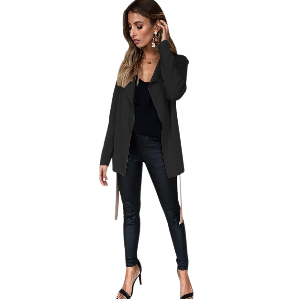 Women Autumn Solid Color Elegant Knit Coat Cardigan Ladies Casual Long Sleeve Waterfall Cardigan Tops With Belt