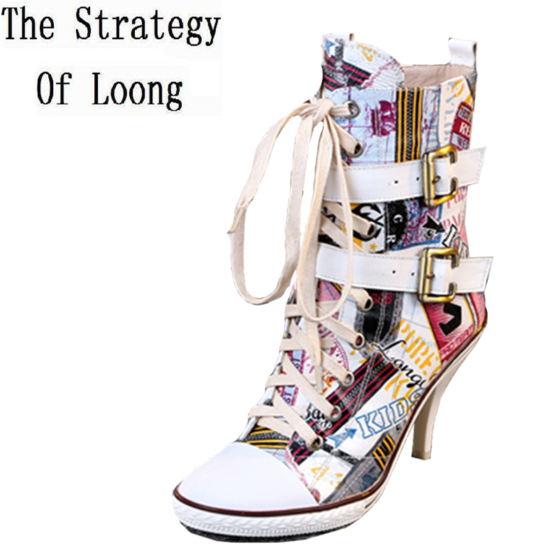 2016 New Arrival Women Spring Autumn Colorful Genuine Leather Boots Lady High Heels Buckle High Top Shoes Big Size 40 41 Pumps outdoor sport women high top running shoes genuine leather running boots sneakers women plus big size
