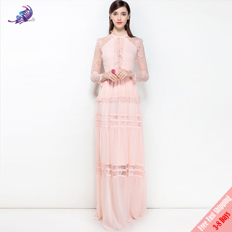 aab8c80d9d965 Fashion Runway Designer Maxi Dresses 2018 New High Quality Women s Cute  Pink Black Lace Patchwork Chiffon