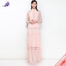 Fashion Runway Designer Maxi Dresses 2018 New High Quality Women's Cute Pink Black Lace Patchwork Chiffon Long Dress FREE DHL(China)