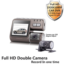 Allwinner Full HD 1080 P cámara del coche DVR frente grabadora y de visión trasera 330 degree ajustar LENS170 ancho agnal G-sensor
