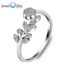 "Genuine 925 Sterling Silver Rings For Lady Fashion Accessories Adjustable ""Flower"" Lady Rings (JewelOra RI101803)"