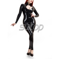Suitop latex glued black catsuit for woman
