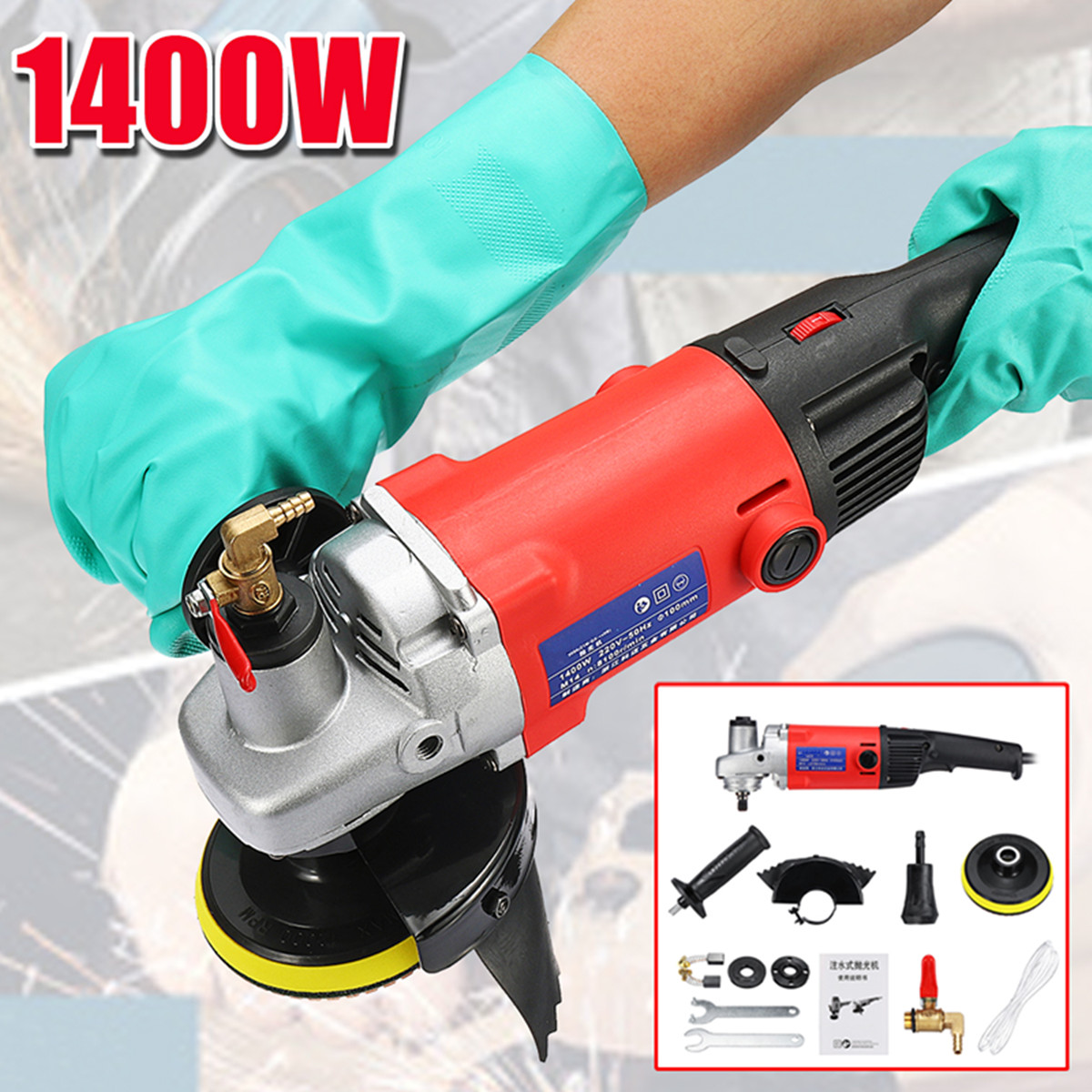 Drillpro 1400W Polisher Grinder Diamond Polishing pads Angle Grinder For Concrete Marble Granite with Gloves Power Tools