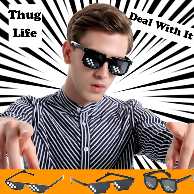 3cdcdde9ee3c Thug Life Pixelated Sunglasses Funny Mosaic Glasses Party Deal With It MLG  Shades Toy 8-Bit Eyeglasses for Man and Woman