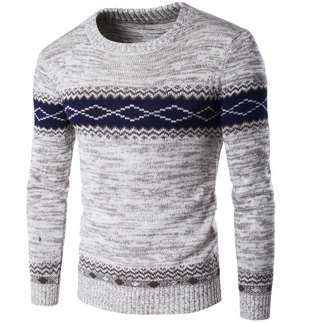 2017 Moda Outono Inverno Blusas Homens O Pescoço Pulôveres de Tricô Jacquard Camisola dos homens Casuais Homem Roupas de Marca Boa Qualidade