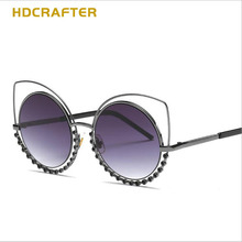 HDCRAFTER 2017 Brand New Fashio Comfortable  Ladies  Sunglasses  Cat  Eyes  Colorful   Bling Rhinestone  Eyeglasses  For  Women