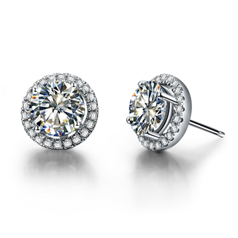 Threeman 2 Ct Halo Synthetic Diamond Stud Earrings For Women Sterling  Silver Jewelry Micro Paved Platinum