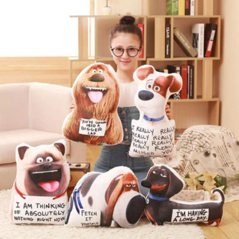 Hot sale Secret Life of Pets animal stereo pillow with the money big secret movie Plush pet toys kids children birthday gifts