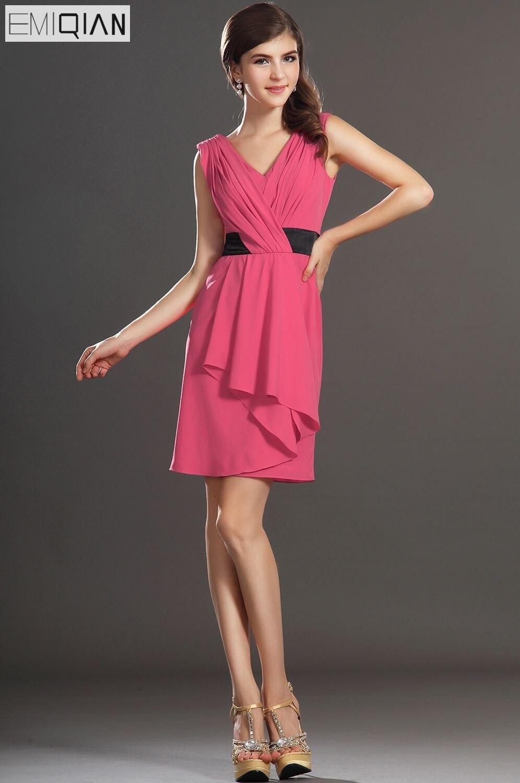 Free Shipping New Sleeveless Sweety Small V-Neck Pleated Bodice Cocktail Dress