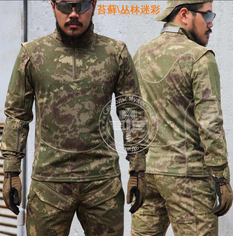 首長マーキング迷彩長袖 Tシャツ男性の戦術狩猟服軍事ハイキングエアガンウォーゲーム Soprtswear ギア