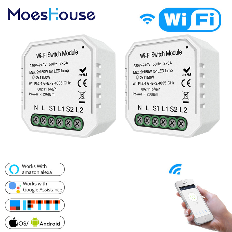2 Gang 2 way WiFi Smart Light Switch Hidden Diy Module Smart Life/Tuya APP Remote Control Works with Alexa Echo Google Home-in Switches from Lights & Lighting