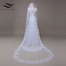 White/Ivory Cathedral Veil Wedding veil 3m Alencon lace Bridal Veil Wholesale New veu de noiva Wedding Accessories 2017(China)