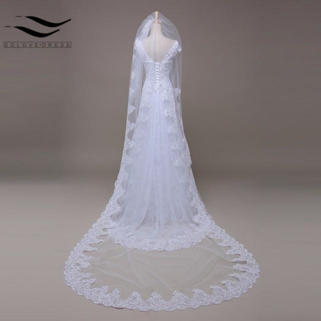 White Ivory Cathedral Veil Wedding 3m Alencon Lace Bridal Wholesale New Veu De Noiva Accessories 2017