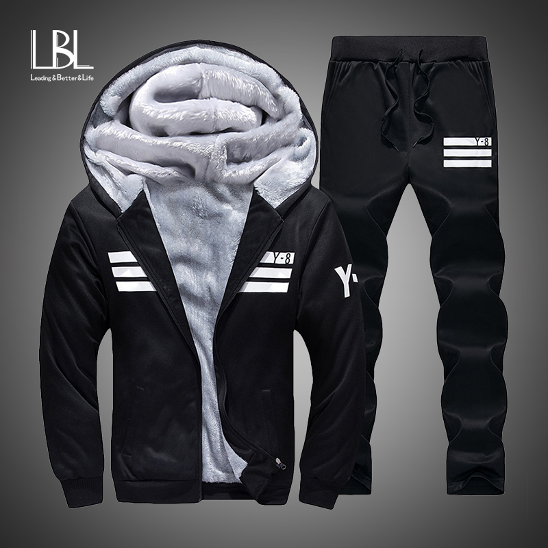 2018 Winter Hoodies Men Casual Hooded Warm Sweatshirts Fur Inside Male Thick Tracksuit 2PC Jacket+Pant Men Moleton Masculino
